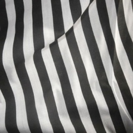 Poly Cotton Stripes BLACK ON WHITE