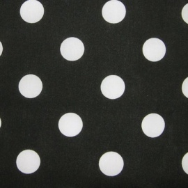 Poly Cotton Spots WHITE ON BLACK