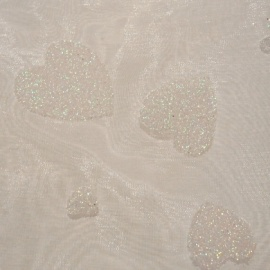 Pearlescent Glitter Heart Organza IVORY