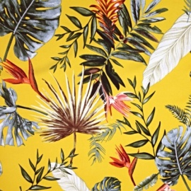 Palm Leaves Floral Stretch Crepe YELLOW