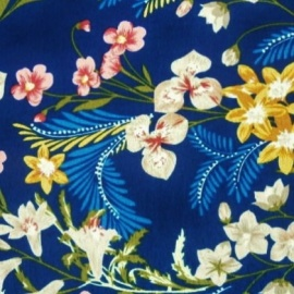 Poly Print FLOWERS NAVY