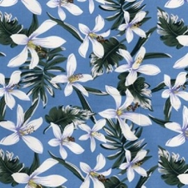 Stretch Cotton Print FLOWER SKY